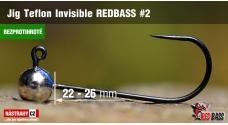 Bezprotihrotá jigová hlavička Teflon Invisible REDBASS # 2, 5 ks