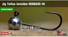 Bezprotihrotá jigová hlavička Teflon Invisible REDBASS # 6, 5 ks