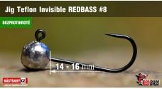 Bezprotihrotá jigová hlavička Teflon Invisible REDBASS # 8, 5 ks