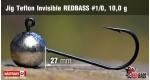 Jig Teflon Invisible RedBass #1/0 - 10,0 g, 5 ks