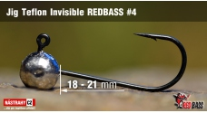 Jigová hlavička Teflon Invisible REDBASS # 4, 5 ks