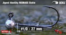 Jigová hlavička REDBASS Sickle #1/0 - 27 mm, 5 ks