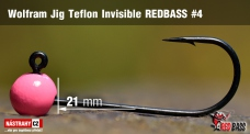 Wolfrámový jig Teflon Invisible REDBASS vel. 4 - 21 mm - 5 ks